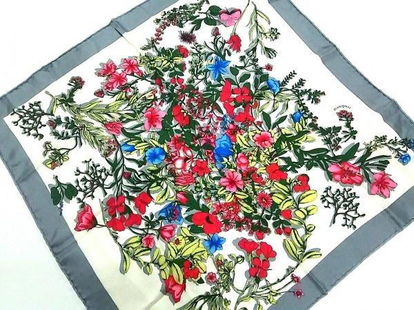 manipuri(マニプリ) スカーフ グレー×白×マルチ