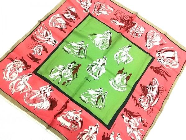 manipuri(マニプリ) スカーフ ピンク×グリーン×マルチ