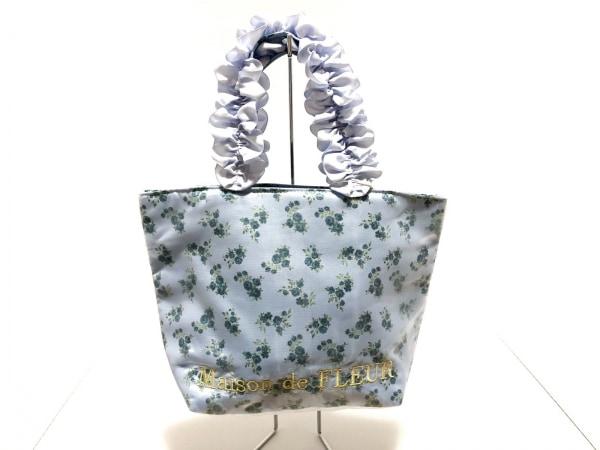 メゾンドフルール ハンドバッグ美品  ライトブルー×グリーン 花柄 ポリエステル