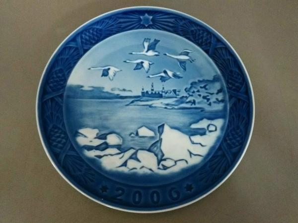 ロイヤルコペンハーゲン プレート新品同様  ネイビー×白 2006年イヤープレート 陶器