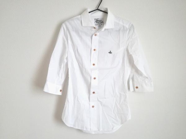 ヴィヴィアンウエストウッドマン 七分袖シャツ サイズ44 L メンズ 白