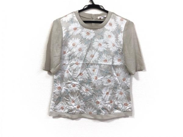 EL MIDAS(エルミダ) 半袖セーター サイズ9 M レディース ベージュ×白×グリーン 花柄