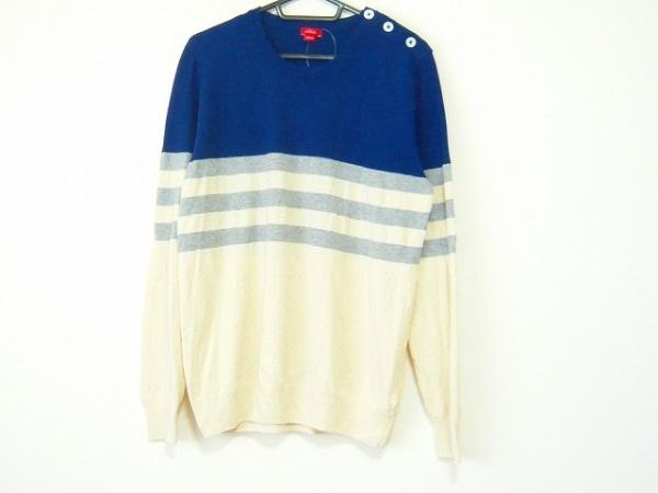 Altea(アルテア) 長袖セーター サイズM メンズ ブルー×アイボリー×グレー ボーダー