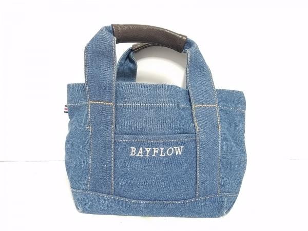 BAYFLOW(ベイフロー) トートバッグ ブルー×ダークブラウン コットン×ポリエステル