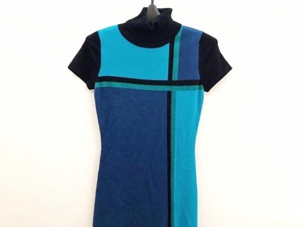 ピンキー&ダイアン ワンピース サイズ38 M レディース美品  黒×ブルー×ライトブルー