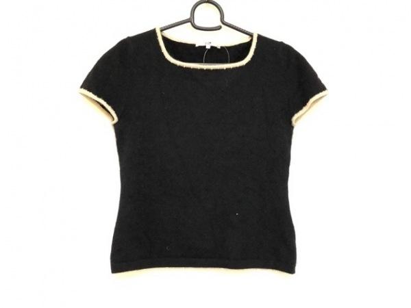 23区(ニジュウサンク) 半袖セーター サイズ32 XS レディース 黒×アイボリー