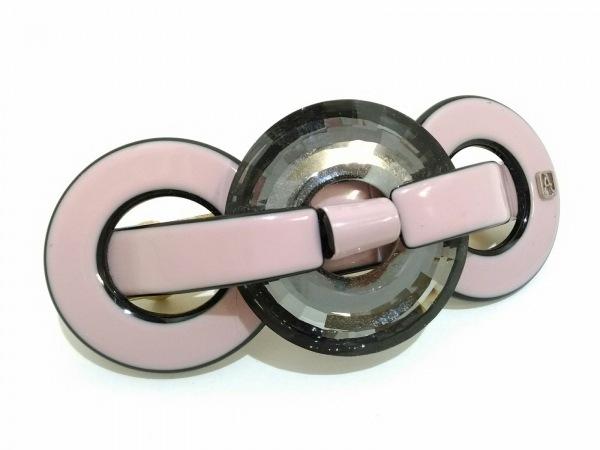 アレクサンドル ドゥ パリ バレッタ美品  プラスチック ピンク×黒×ダークグレー