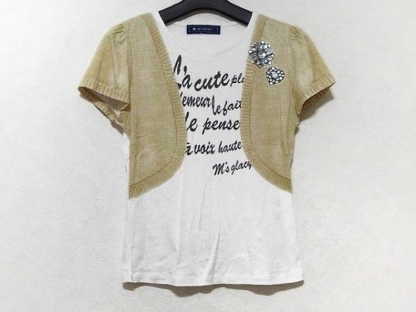 エムズグレイシー 半袖Tシャツ サイズ38 M レディース美品  白×ベージュ×マルチ