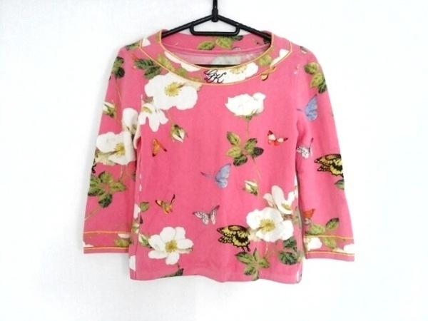 イタリヤ 七分袖セーター サイズ9 M レディース ピンク×ライトグリーン×マルチ