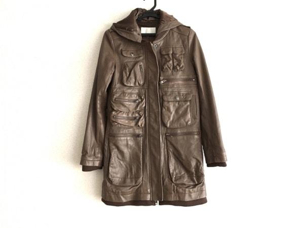アンシャントマン コート サイズ38 M レディース美品  ブラウン フード取り外し可能