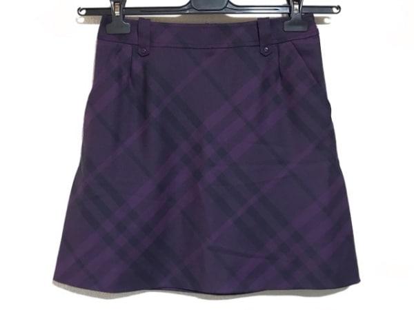 バーバリーゴルフ スカート サイズ9 M レディース美品  パープル×ダークグレー