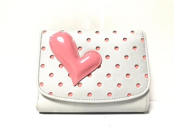 ウノカンダ 3つ折り財布 グレー×ピンク がま口/ハート レザー×エナメル(レザー)
