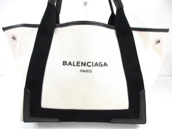 バレンシアガ トートバッグ ネイビーカバS 339933 アイボリー×黒 キャンバス×レザー