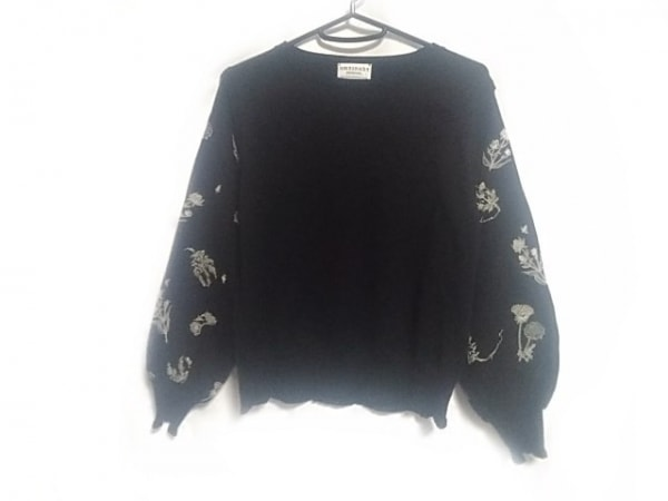 アンティパスト 長袖セーター サイズ2 M レディース 黒×アイボリー 花柄/刺繍