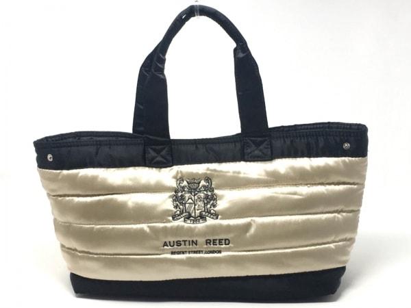 オースチンリード トートバッグ美品  ゴールド×黒 キルティング/刺繍 サテン