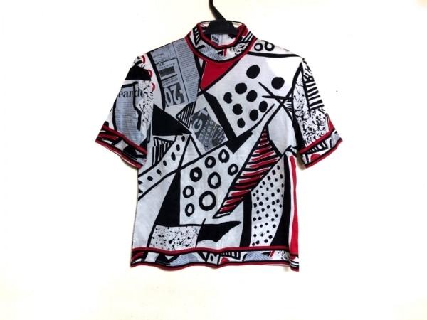 レオナール 半袖カットソー サイズL レディース 白×黒×マルチ ハイネック/肩パッド