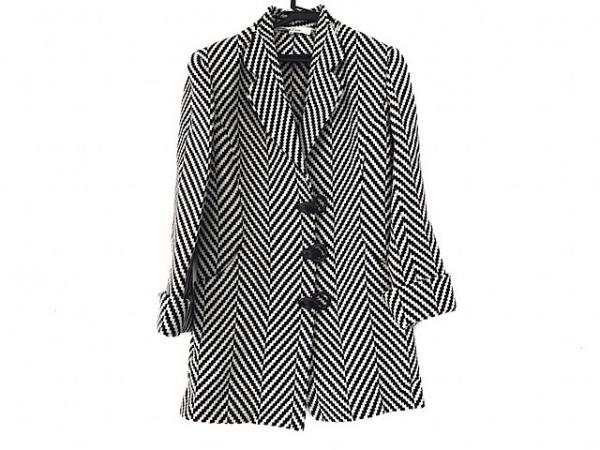 HANAE MORI(ハナエモリ) コート サイズ38 M レディース美品  黒×アイボリー