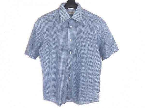 ゼニア 半袖シャツ サイズM メンズ ライトブルー×白×黒 チェック柄/ドット柄