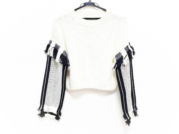 スリーワンフィリップリム 長袖セーター サイズS レディース アイボリー×黒 フリンジ