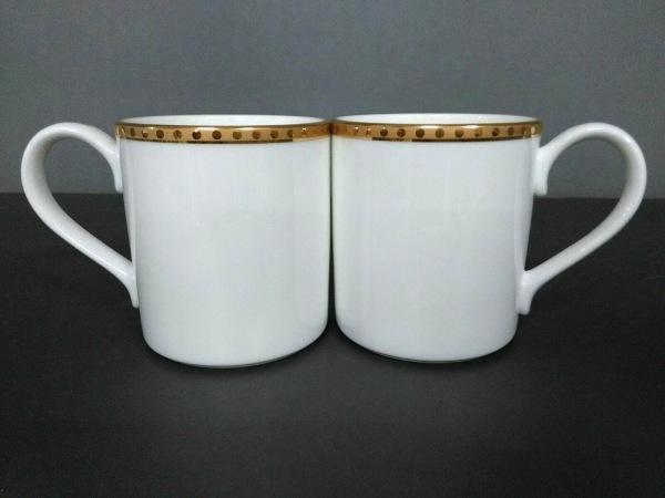 ティファニー マグカップ新品同様  Gold Band 白×ゴールド マグカップ×2 陶器
