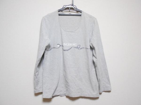 INGEBORG(インゲボルグ) 長袖Tシャツ サイズL レディース ライトグレー×黒
