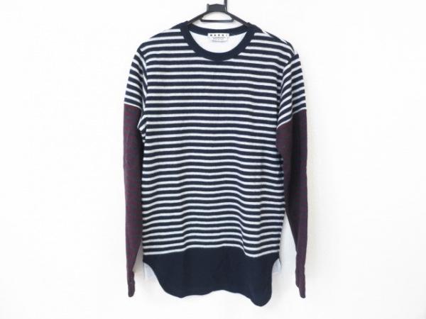 マルニ 長袖セーター サイズ44 S メンズ美品  ダークネイビー×ライトグレー×マルチ