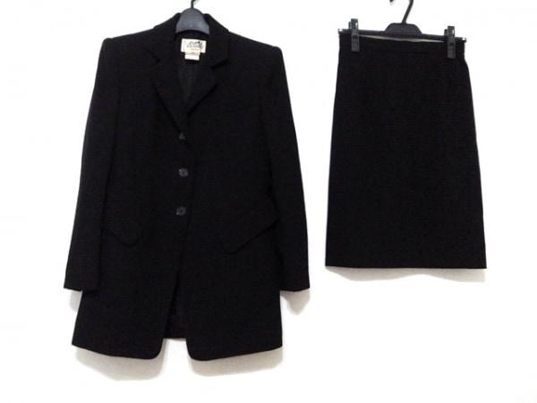 HERMES(エルメス) スカートスーツ サイズ38 M レディース美品  黒 肩パッド