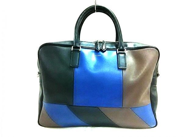 PaulSmith(ポールスミス) ビジネスバッグ 黒×ブルー×ダークブラウン レザー