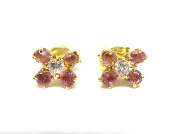 ノーブランド ピアス K18×ダイヤモンド×カラーストーン クリア×ピンク 総重量:0.8g