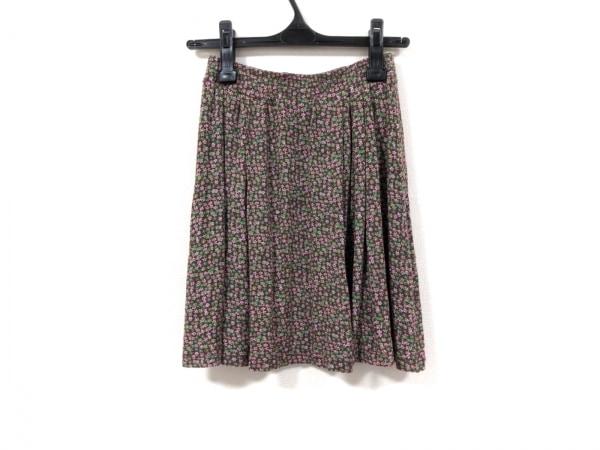 アニエスベー ミニスカート サイズ1 S レディース ブラウン×グリーン×レッド 花柄