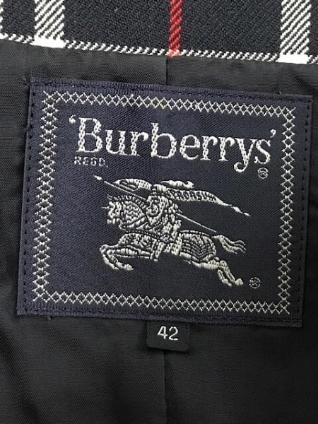 バーバリーズ ベスト サイズ42 L レディース ネイビー×白×レッド チェック柄