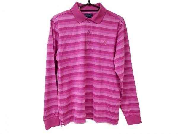 バーバリーゴルフ 長袖ポロシャツ サイズM レディース美品  ピンク ボーダー