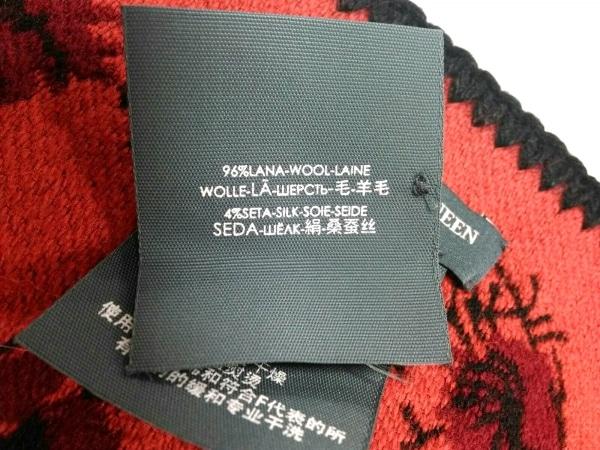 アレキサンダーマックイーン ブランケット 140×220cm美品  黒×レッド×オレンジ