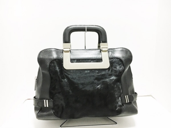 botkier(ボトキエ) ハンドバッグ 黒×シルバー レザー×ハラコ×金属素材
