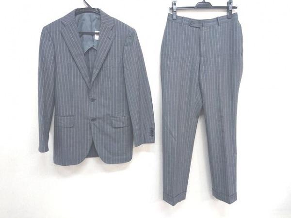 BEAMS F(ビームスエフ) シングルスーツ サイズ90 メンズ グレー×白 ストライプ