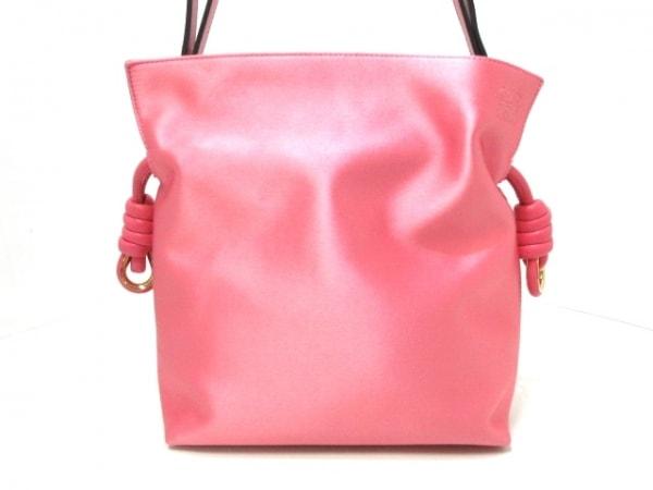 ロエベ ショルダーバッグ美品  フラメンコノットスモール ピンク サテン×レザー