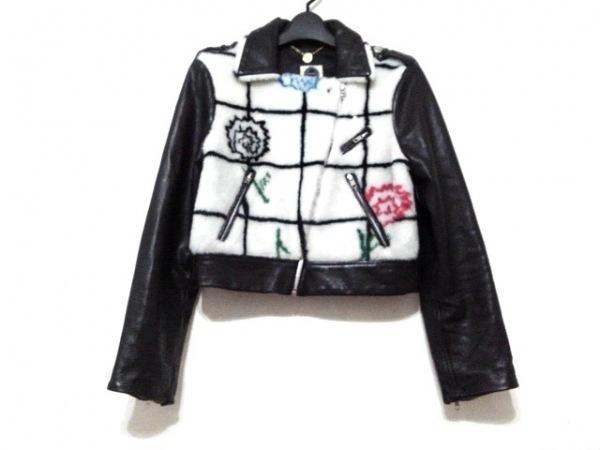 スレトシス ライダースジャケット サイズ4 XL レディース美品  黒×白×マルチ
