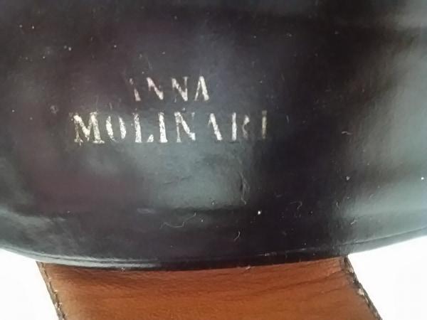 アンナモリナーリ サンダル 35 レディース 黒 アウトソール張替済 レザー