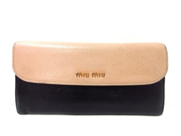miumiu(ミュウミュウ) 長財布 - 5MH109 黒×ベージュ レザー