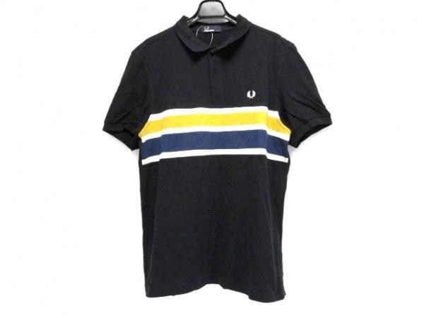 フレッドペリー 半袖ポロシャツ サイズL メンズ 黒×ネイビー×マルチ ボーダー