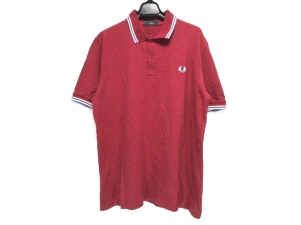 フレッドペリー 半袖ポロシャツ サイズ42 L メンズ ボルドー×白×ライトブルー