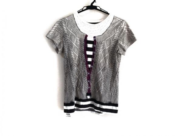 ポールスミスプラス 半袖Tシャツ サイズM レディース グレー×黒×マルチ