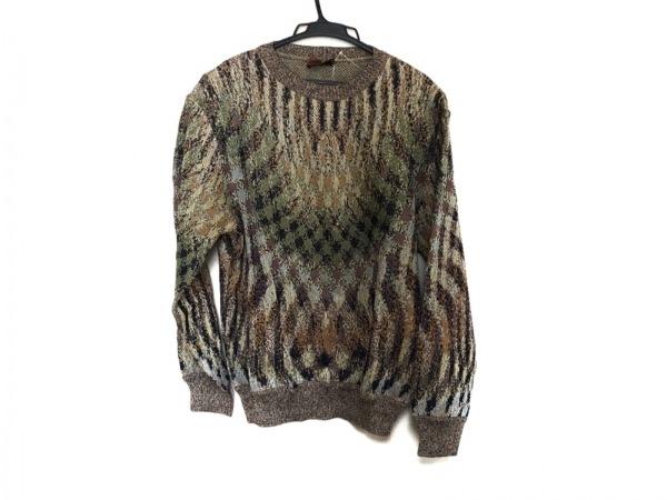 MISSONI(ミッソーニ) 長袖セーター メンズ美品  カーキ×マルチ