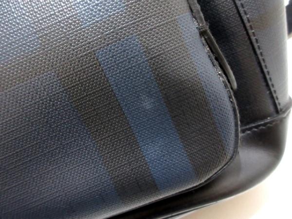 バーバリー リュックサック美品  ネイビー×黒 チェック柄 PVC(塩化ビニール)×レザー