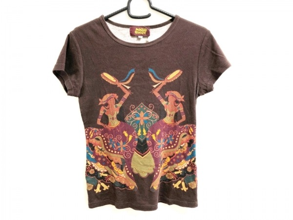 mash mania(マッシュマニア) 半袖Tシャツ レディース ダークブラウン×レッド×マルチ