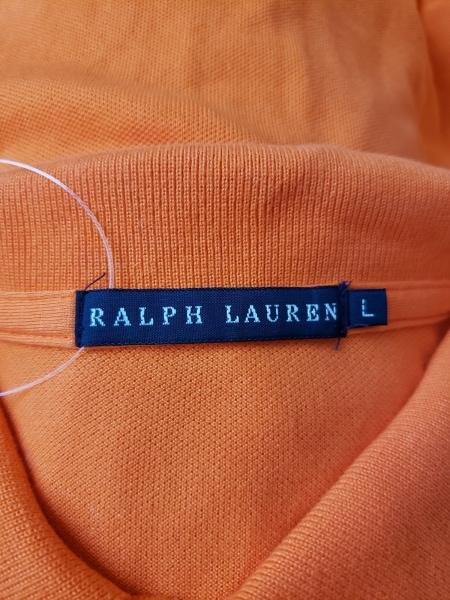 ラルフローレン 半袖ポロシャツ サイズL レディース ビッグポニー オレンジ ビーズ