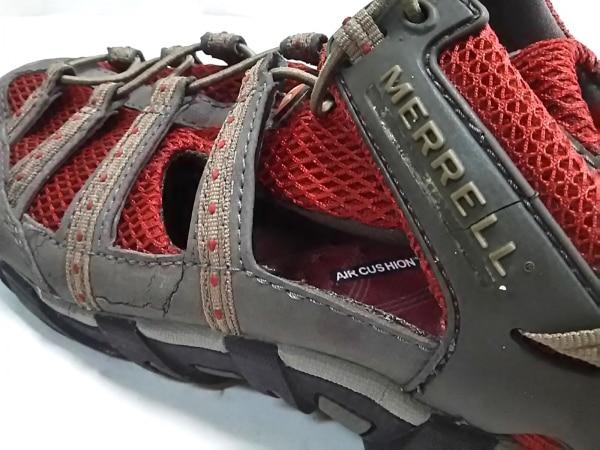 MERRELL(メレル) スニーカー メンズ グレー×レッド 化学繊維×レザー