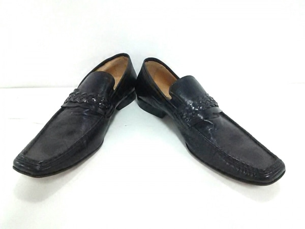 around the shoes(アラウンドザシューズ) ローファー 42 メンズ美品  黒 レザー
