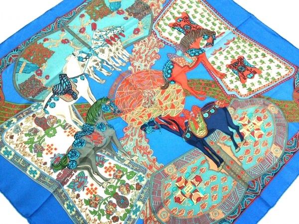 HERMES(エルメス) スカーフ美品  カレ ブルー×マルチ