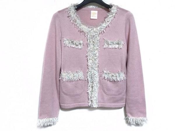 ele couture(エレクチュール) カーディガン サイズS レディース ピンク×白×マルチ